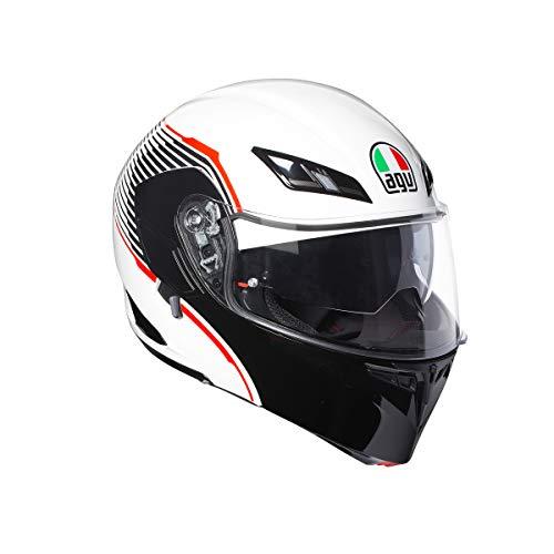 Casco modulare apribile Agv Compact St Vermont Bianco nero rosso white red Black flip up helmet (M)