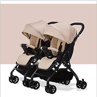 PQ&D Cochecito de bebé Plegable de Doble luz de Viaje, Cochecito portátil Desmontable de Doble muñeca Coche Adecuado para niños de 0 a 3 años