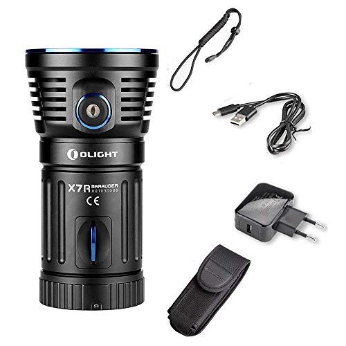 OLIGHT X7R Super Bright Leistungsstarke Taschenlampe, Cree LED 12000 Lumen, USB-Schnellladegerät für Typ-C, Ihr bester Camping-Sucher, Rettungs-Taschenlampe, Schwarz