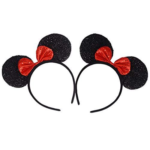 2 Stücke Mickey Minnie Stirnbänder für Geburtstag Halloween Partys Mama Jungen Mädchen Schöne Maus Ohren Haarreife Dekorationen (Schwarze Glitzernde Rote Paillette)
