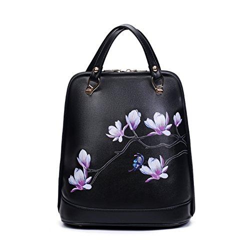 borsa stampa stile cinese/Zaino studente di Magnolia fiore di stampa-D D