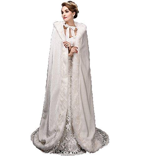 Noriviiq Damen Langes Elfenbein Faux Pelz Hochzeit Umhang mit Kapuze Winter Für Braut Wraps Cape