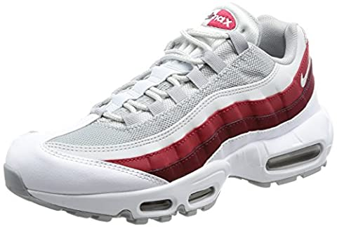 Nike Air Max 95 Essential, Chaussures de Running Homme, Multicolore (White/Wolf Grey/Pure Platinum/Team Red), 46 EU