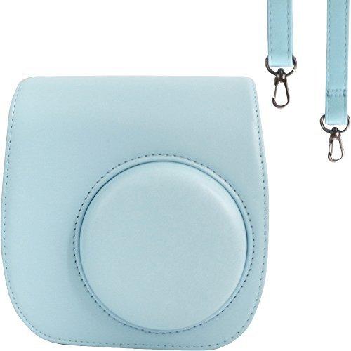 Taschen/Hülle für Fujifilm Instax Mini 9/8 / 8+ Instant Film Kamera Ice Blue. Vintage Compact Schutztasche. Mit verstellbarem Schultergurt & Taschen. Von SAIKA (Blau Instax Polaroid Kamera)