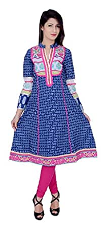 Rama Women's Cotton Printed Blue Long Anarkali Kurta