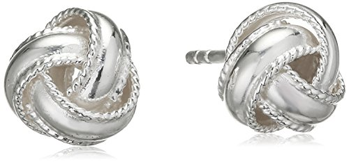 Tuscany Silver Sterling Silver 8mm Twisted Edge Knot Stud Earrings