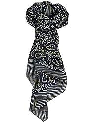 Echarpe Foulard Premier Qualité Classic Motif Amba en Black & Peach en 100% Soie du Mûrier de Pashmina & Silk