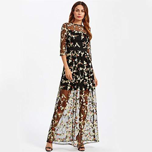 JJHR Kleider Botanische Stickerei Maxi Kleid Floral Mesh Overlay 2 In 1 Frauen Elegantes Langes Kleid Schwarz Sheer A Line Party Kleid, S Line Sheer