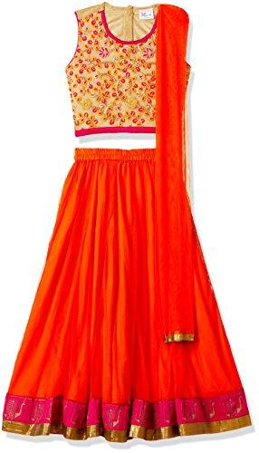 Elaisha Girl's Regular Fit Ghagra Choli Dupatta Set (GC-105-ORANGE-9 - 10 years)