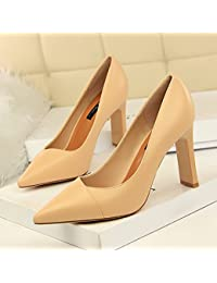 Xue Qiqi Simple et élégant et polyvalent avec fine carrière high-heeled satin et vidéo polyvalent lumière fine pointe de buse simple dames chaussures,34, rouge