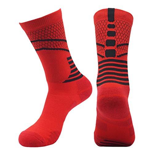 Herren Ganzneuer Rutschfeste Lange Socken Basketball-Socken Sport Mittlere Röhren Strümpfe Best Qualität Laufsocken (H-Rot, L/XL 36-45)
