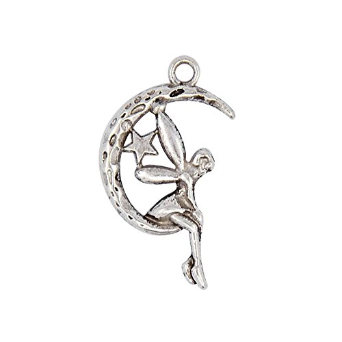 Alloy Fairy Sprite Charms Characters Pendants in Fairy Tales for Halloween,Antique Silver,about 25mm Long,14mm Wide,3mm Thick,Hole: 2mm ()