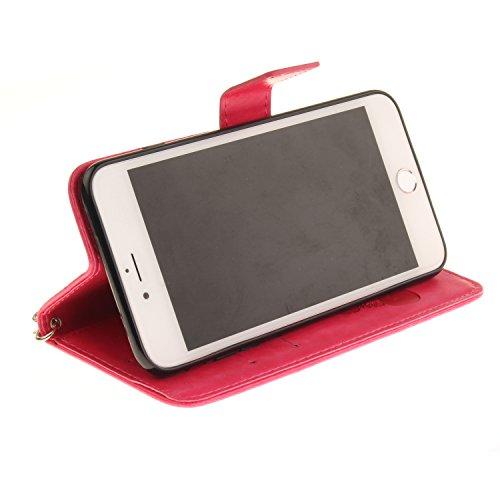 """Für iPhone 7 Plus 5.5"""" Gurt Strap Magnetverschluß Ledertasche Hülle,Für iPhone 7 Plus 5.5"""" Premium Seil Leder Wallet Tasche Brieftasche Schutzhülle,Funyye Stilvoll Jahrgang [Niedlicher reizender Panda Panda,Heißes Rosa"""