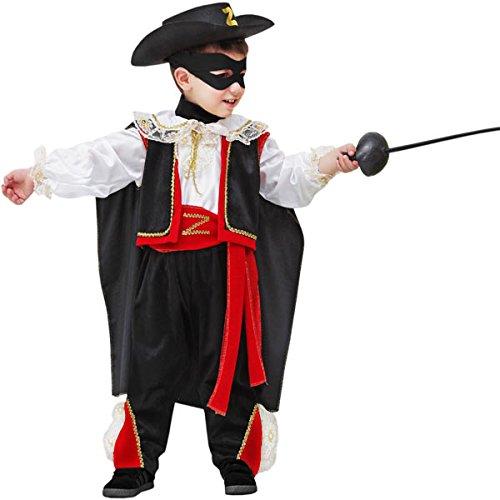 Vestito costume maschera di carnevale baby - piccolo vendicatore - zorro - taglia 4/5 anni - 83 cm