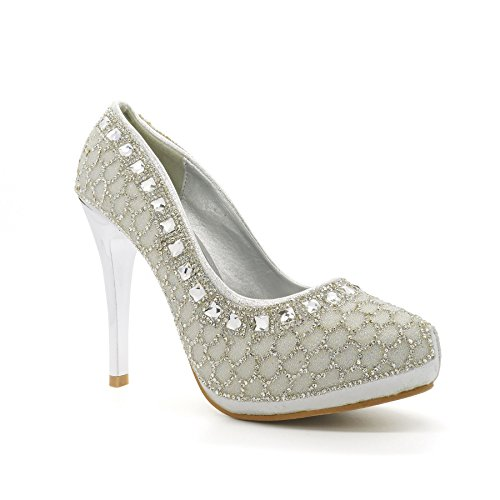 XINJING-S Frauen Bridal Diamante Pumps Größe 3-8 Uk High Heel Platform Stiletto Partei Silber