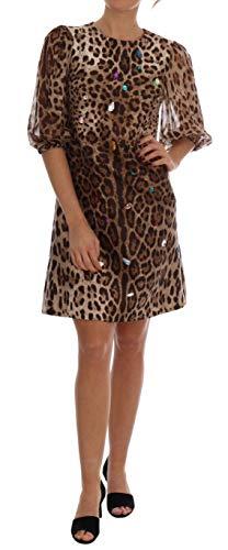 Brown Leopard Crystal Embellished Shift Dress