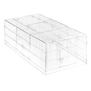 Trixie 62452 Freilaufgehege mit Abdeckung, verzinkt, 216 × 65 × 116 cm