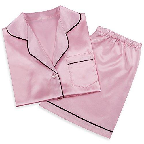 sankill Damen Seide Pyjama Set Schlafanzug Sleepwear Loungewear mit Geschenk Schlafmaske
