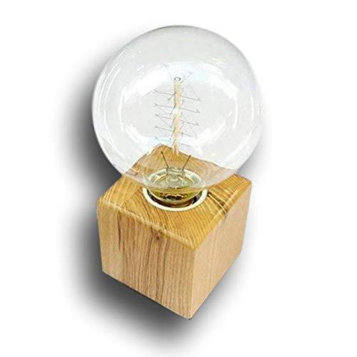 Portalámparas con casquillo E27, madera, cuadrado, lámpara de mesa con conector EU estándar e interruptor...
