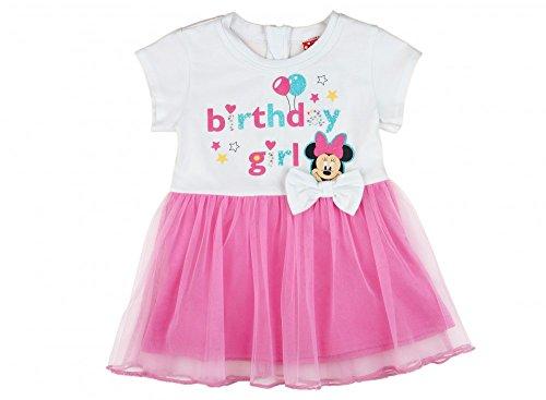 -Kleid in GRÖSSE 80, 86, 92, 98, 104, 110, 116, 122, 128 mit TÜLL-ROCK, Disney Minnie Mouse, KURZ-ARM, ideal für die BIRTHDAY-Party, Freizeit, Fest oder Sommer Farbe Weiss, Größe 98 (Minnie Kleid)
