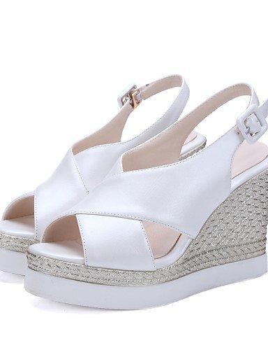 LFNLYX Chaussures Femme-Extérieure / Habillé / Décontracté-Noir / Rose / Blanc / Amande-Talon Compensé-Compensées / Bout Ouvert / A Plateau / A Pink