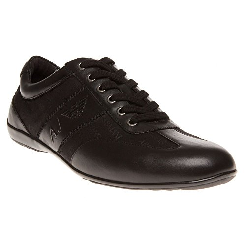 Armani Jeans Formal Nylon Embossed Homme Chaussures Noir