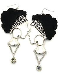 Originales boucles d'oreilles de femme a boucles d'oreilles, collier et bandeau zébré, couleur argent JE1062RDZBR