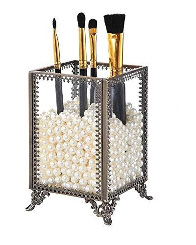 Makeup Organisator Makeup Brushes Holder Premium Glass Gold Style Metal Lace mit Free White Pearls,B