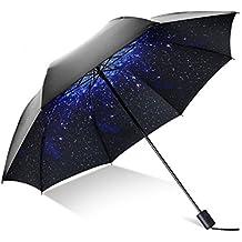 HHD® Paraguas Plegable Automático Portátil, Estrellas Paraguas Automático de Viaje con 9 varillas y tela con recubrimiento de T210 Antiviento Impermeable Para Mujer/ Hombre
