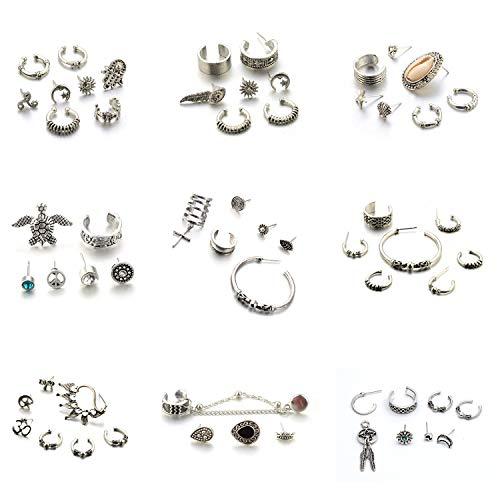 Ohrringsets, 9 Sets, 57 Teile, Manschettenknöpfe, Feder, Kreuz, Stern, Charm, Kreolen, Vintage-/Punk-Stil, Schmuck für Mädchen und Damen