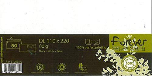 Clairefontaine 610655C Forever paquete de 50sobres 11x 22cm, con ventana 3,5x 1080G Color blanco