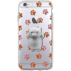 Squishy 3D Animal Gato Cat iPhone 7 Plus Case, Cute Stress Silicone Gel Fun Kawaii Funda Carcasa Case Cover for iPhone 7 Plus (Color-C)