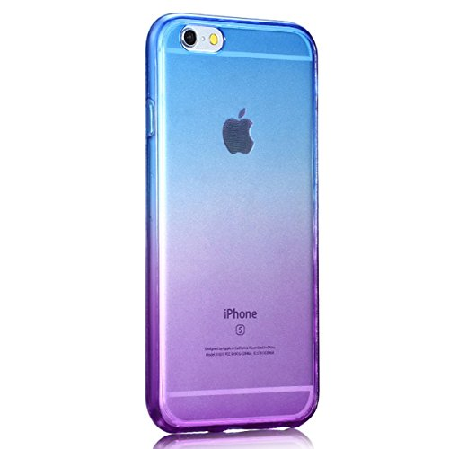 Ekakashop Davanti e dietro Full Body 360°Protective Case Cover Custodia, iPhone 7 Cover,iPhone 7 Case TPU Lusso Gradient Color Shockproof Scratch-Resistant Ultra Slim Flexible Soft Gel Cristallo Silic Blu Viola