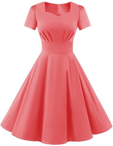 Dresstells Damen Vintage 50er Rockabilly Kurzarm Swing Kleider Partykleid Pink L