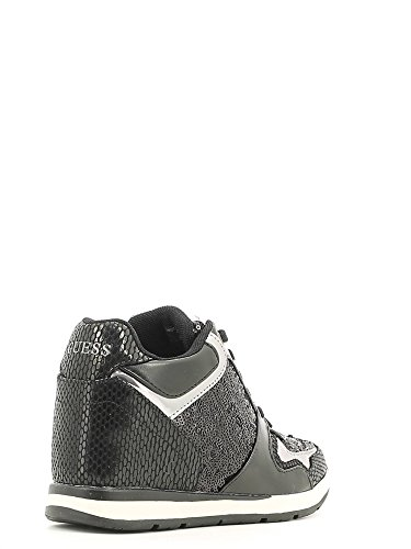 Guess Sneaker femme Laceyy Paillettes Wedge Cm 6 Tissu Cuir Black Black