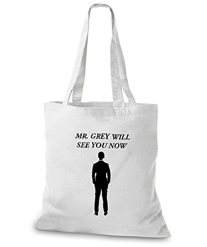 StyloBags Jutebeutel / Tasche Mr. Grey will see you now Weiß