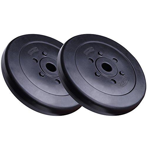 ScSPORTS® 15 kg Hantelscheiben-Set Kunststoff 2 x 7,5 kg Gewichte 30/31 mm Bohrung - leise und bodenschonend für Zuhause