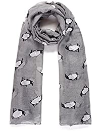 Grey Penguin Print Wide Scarf