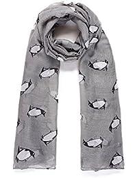 Grey Penguin Print Wide Scarf