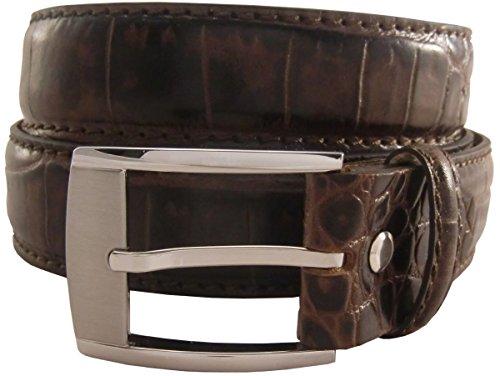 Gürtel mit Krokoprägung 3,5 cm | Leder-Gürtel für Damen Herren 35mm Kroko-Optik | In Schwarz Braun Blau Rot Cognac Kroko-Muster Schnalle Silber -