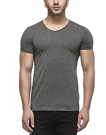 Tinted Men's Cotton V-neck Half Sleeve T-shirt (TJ101RH-ANTHERA-M_Anthra_Medium)