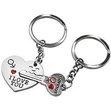 Dos llaveros para pareja y leyenda en inglés, corazón y llave, para cumpleaños, San Valentín, boda, aniversario, regalo para los enamorados