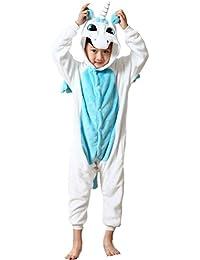 Ghope Enfant Licorne Pyjama en Flanelle kigurumi Fille Garçon Déguisement Cosplay Combinaison Animaux Une pièce Costume à Capuche Vêtement de Nuit Tenus Halloween Onesie Carvanal Noël