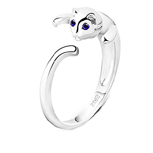 findout 925 anillos de plata lindo gato abiertas, para las mujeres niñas (f1609)