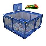 8 Panel Gefaltete Baby Laufgitter Mit Basketballkorb Und Bodenmatte Kind Jungen Mädchen Spielen Pen Raumteiler Oxford Tuch (Farbe : Blau)