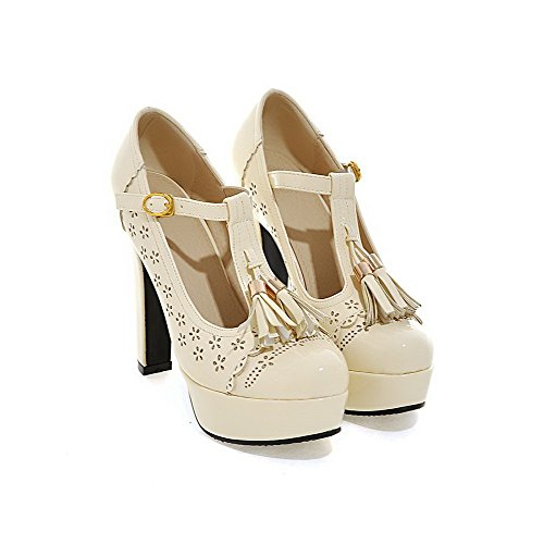 VogueZone009 Femme Pu Cuir à Talon Haut Rond Couleur Unie Boucle Chaussures Légeres Abricot