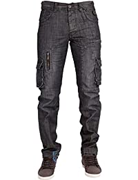 MENS JEANS NEW EM408 COMBAT STYLE DARK WASH JEANS LATEST FUNKY DESIGN 30 TO 38