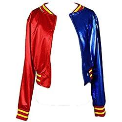 Chaqueta para disfraz de Harley Quinn, manga larga, cuello redondo, para adultos ver fotos XL