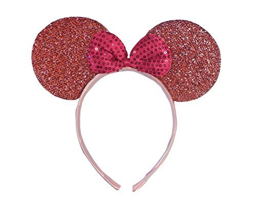 Hellrosa (Minnie Mouse Glitter Ears) Glitzernden Minnie Maus Ohren Kostüm Haarband (Goth-band-t-shirts)