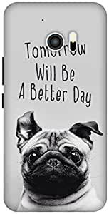 The Racoon Grip printed designer hard back mobile phone case cover for HTC 10. (happy pug)